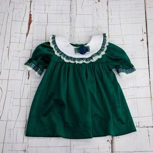 Vintage green smock baby dress size 12 months